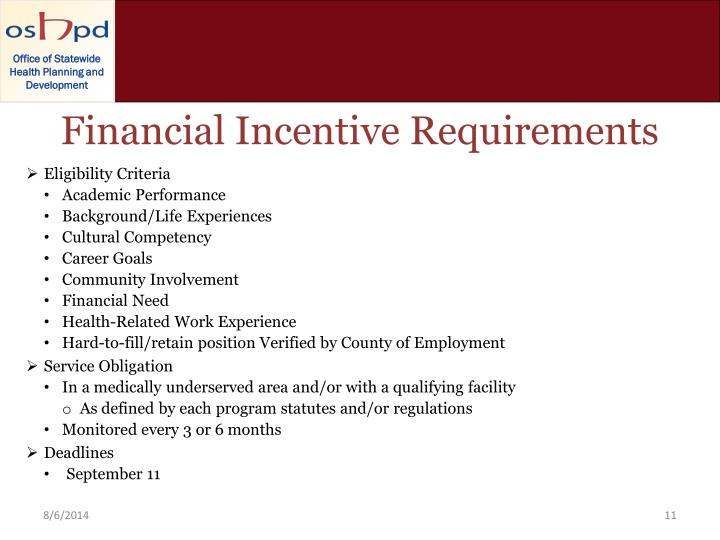 Financial Incentive Requirements