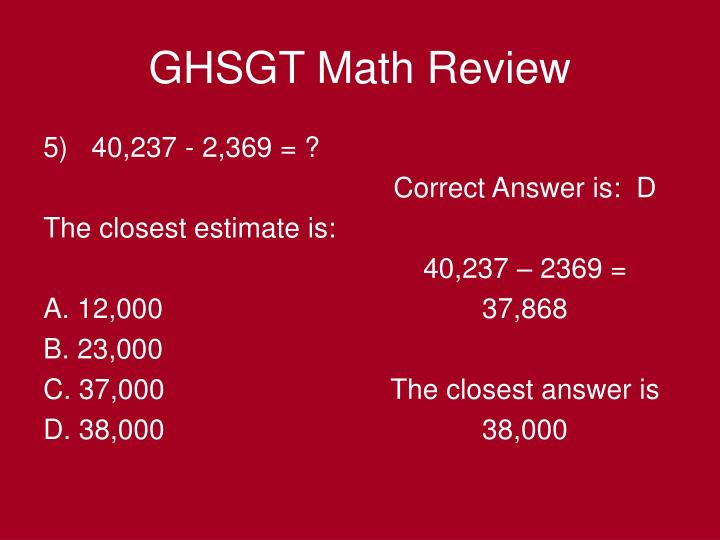 5)   40,237 - 2,369 = ?