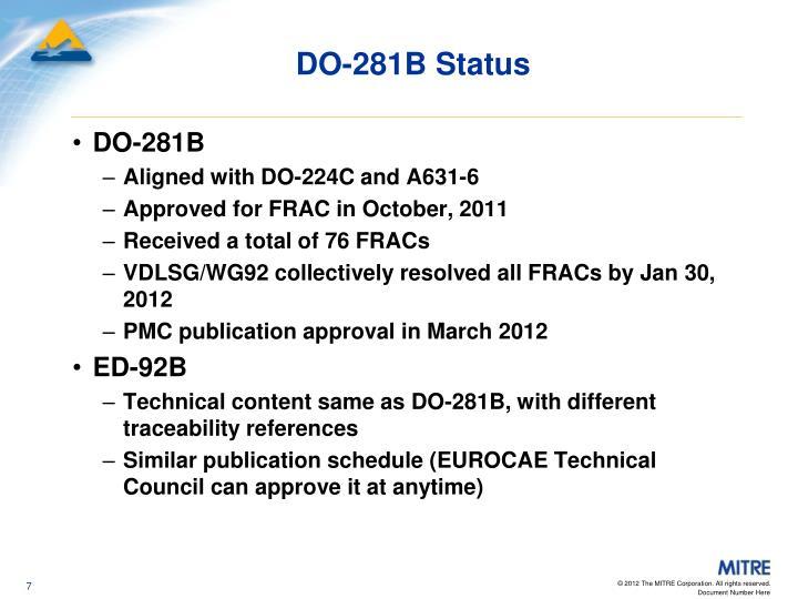 DO-281B Status