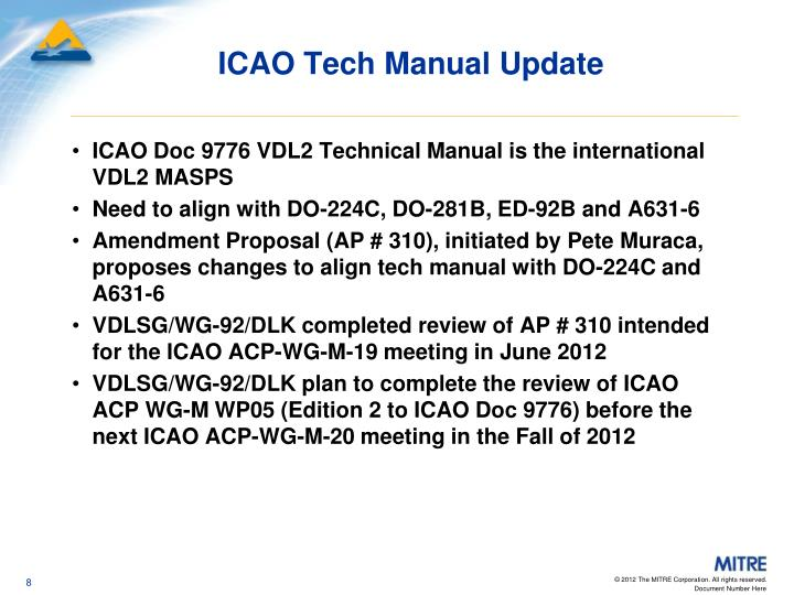 ICAO Tech Manual Update
