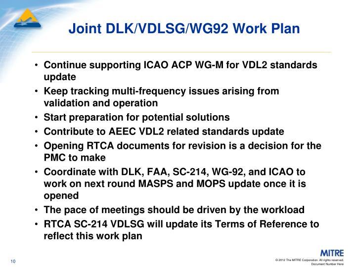 Joint DLK/VDLSG/WG92 Work Plan