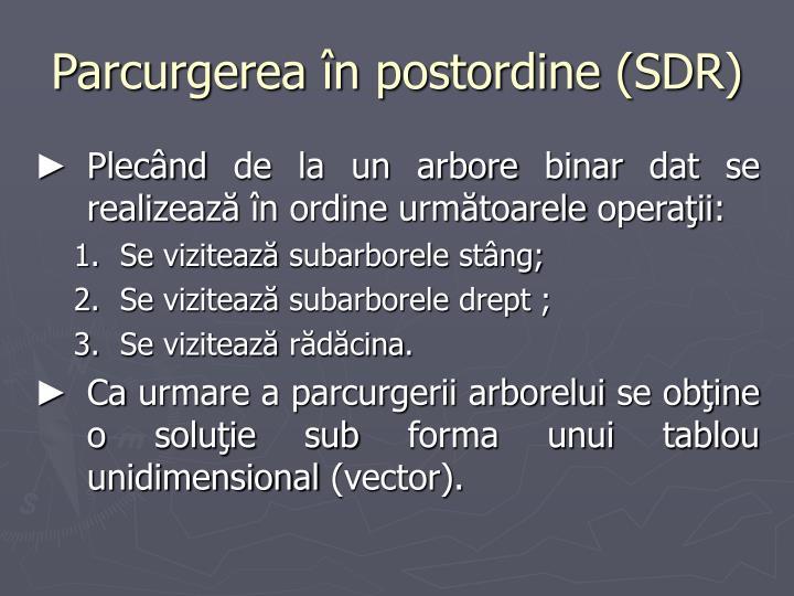 Parcurgerea în postordine (SDR)