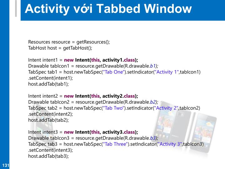 Activity với Tabbed Window
