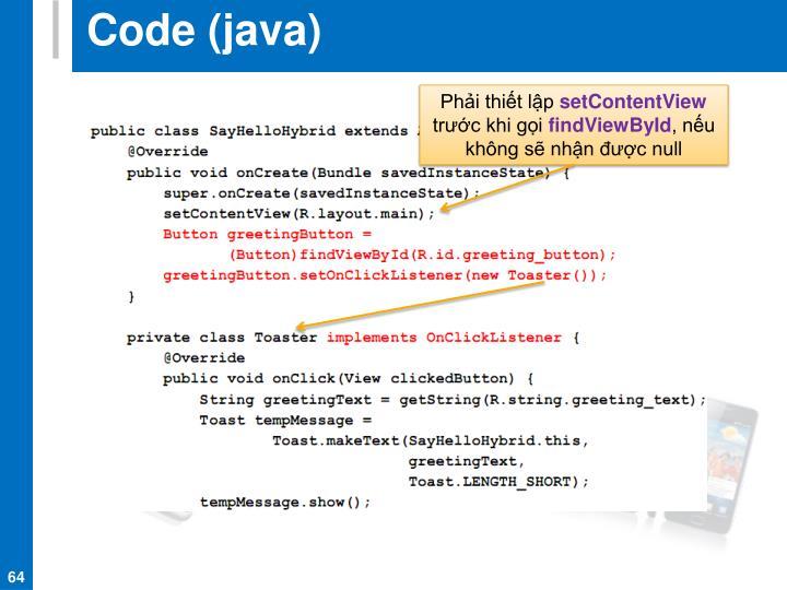 Code (java)