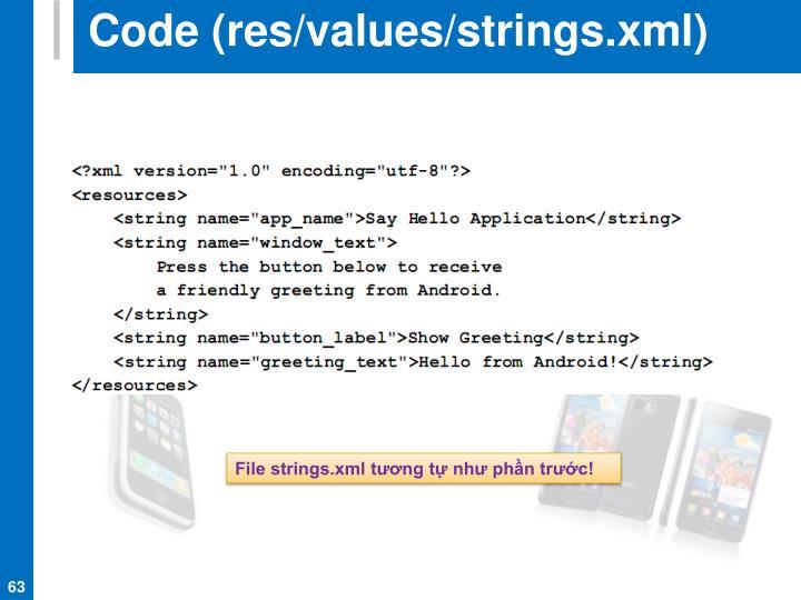 Code (res/values/strings.xml)