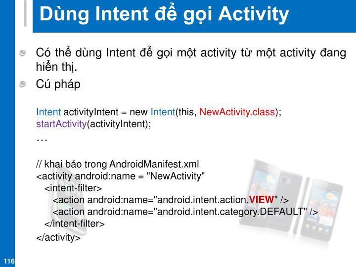 Dùng Intent để gọi Activity