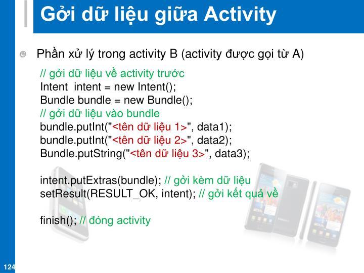 Gởi dữ liệu giữa Activity