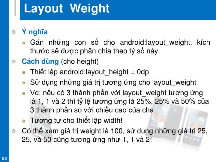 Layout  Weight
