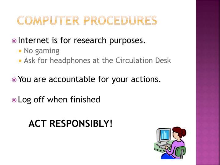 Computer Procedures