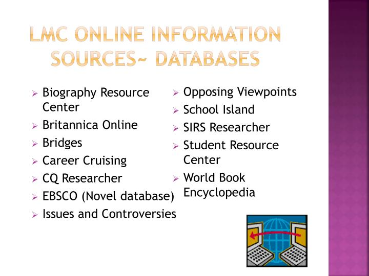 LMC Online Information Sources~ DATABASES