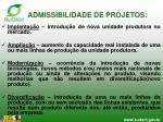admissibilidade de projetos