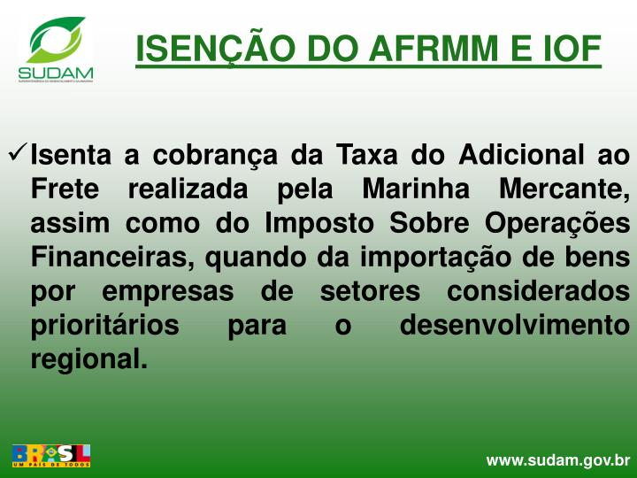 ISENÇÃO DO AFRMM E IOF