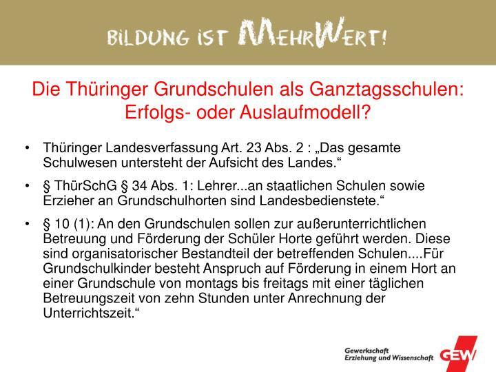 Die Thüringer Grundschulen als Ganztagsschulen: