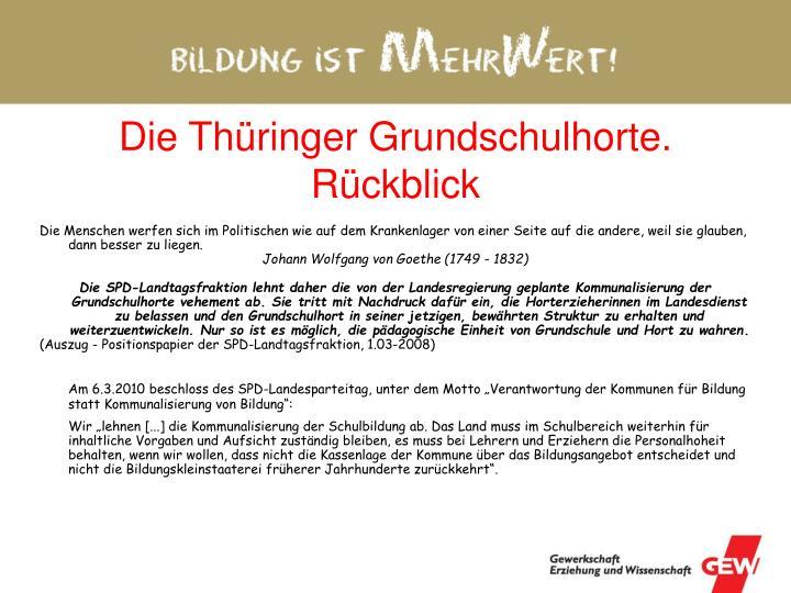 Die Thüringer Grundschulhorte. Rückblick