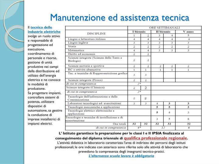 Manutenzione ed assistenza tecnica