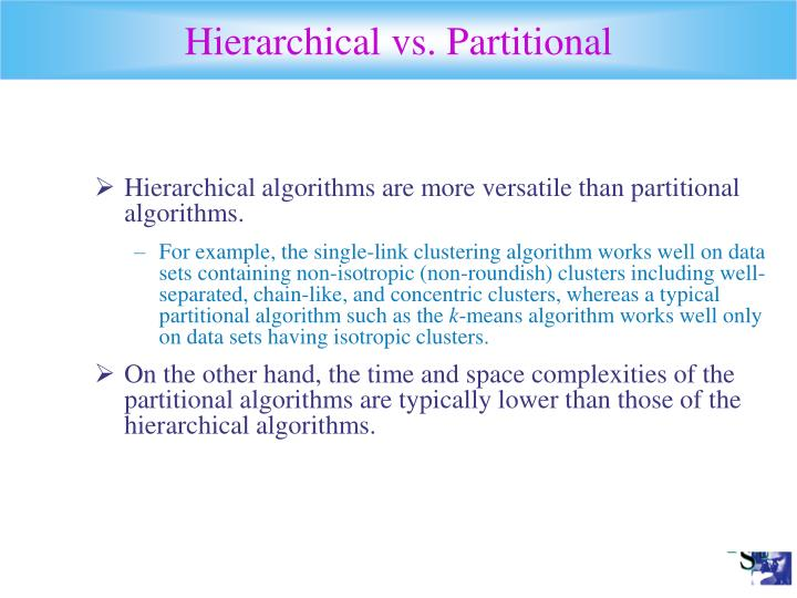 Hierarchical vs. Partitional