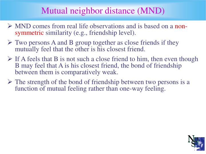 Mutual neighbor distance (MND)