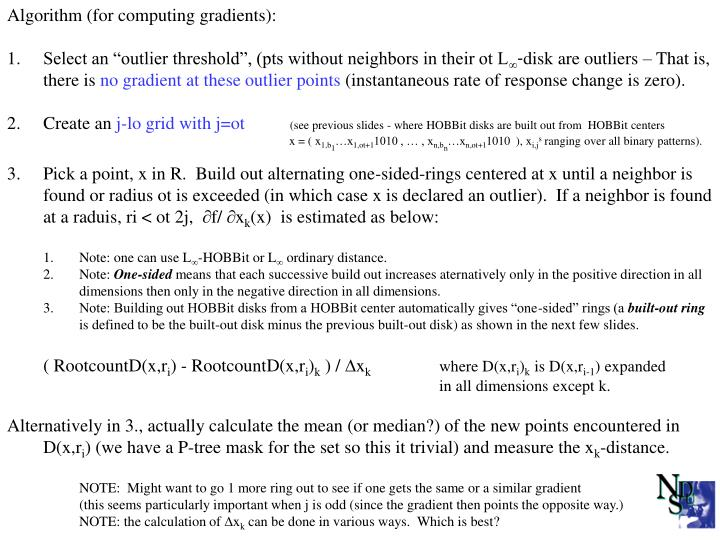 Algorithm (for computing gradients):