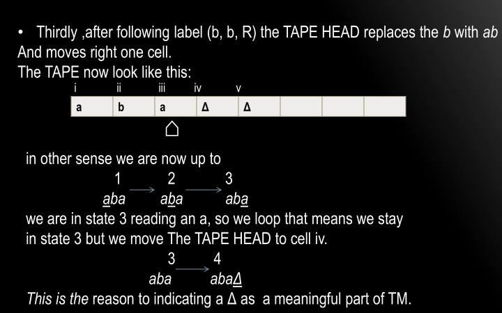 Thirdly ,after following label (b, b, R) the TAPE HEAD replaces the