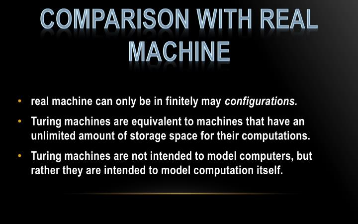 COMPARISON WITH REAL MACHINE