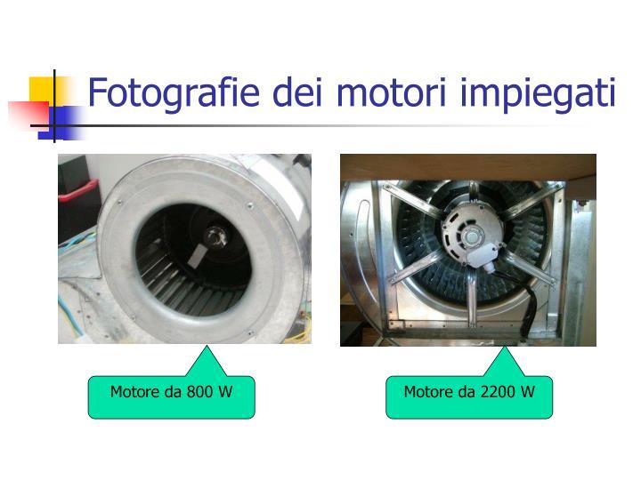 Fotografie dei motori impiegati