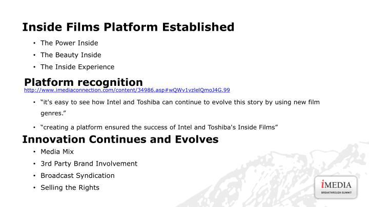 Inside Films Platform Established