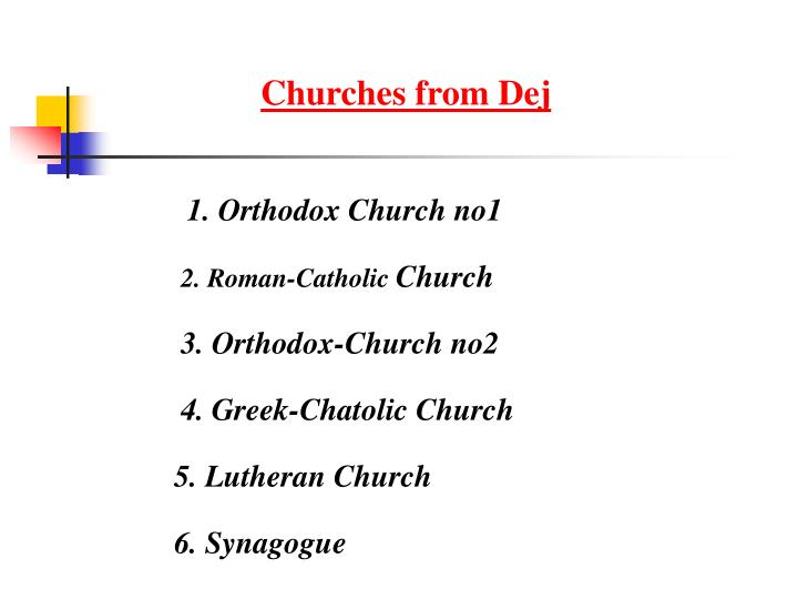 Churches from Dej