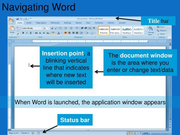 Navigating Word