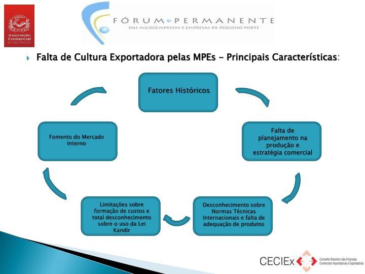 Falta de Cultura Exportadora pelas