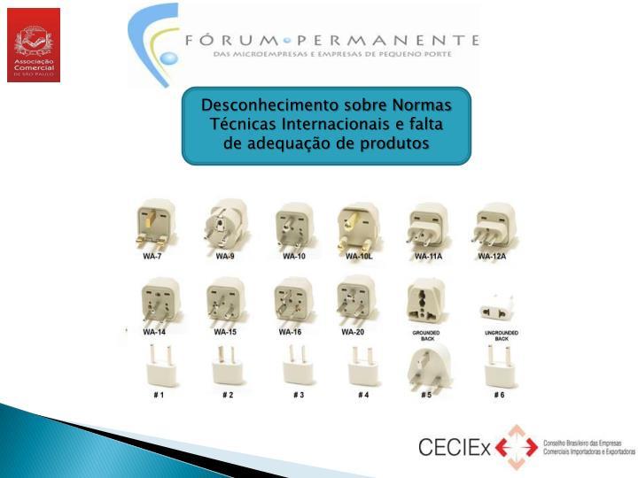 Desconhecimento sobre Normas Técnicas Internacionais e falta de adequação de produtos