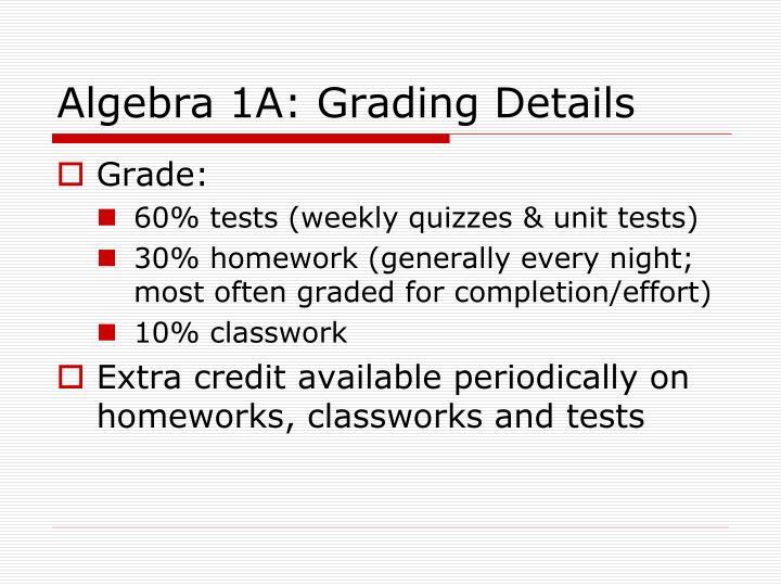 Algebra 1A: Grading Details