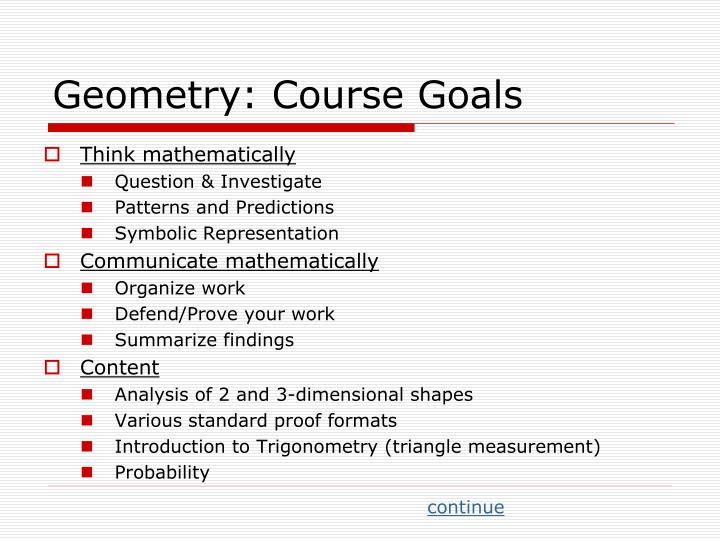 Geometry: Course Goals