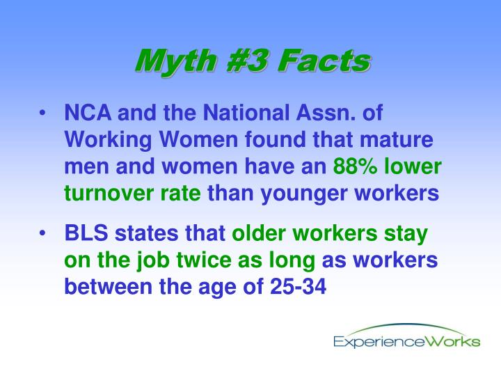 NCA and the National Assn. of Working Women found that mature men and women have an
