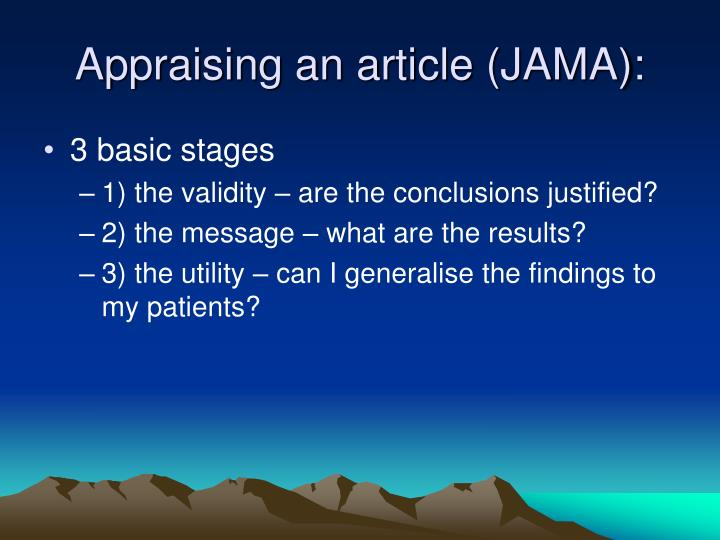 Appraising an article (JAMA):