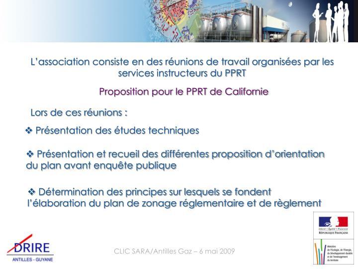 L'association consiste en des réunions de travail organisées par les services instructeurs du PPRT