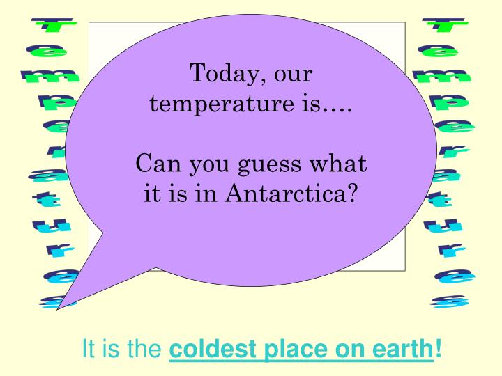 Today, our temperature is….