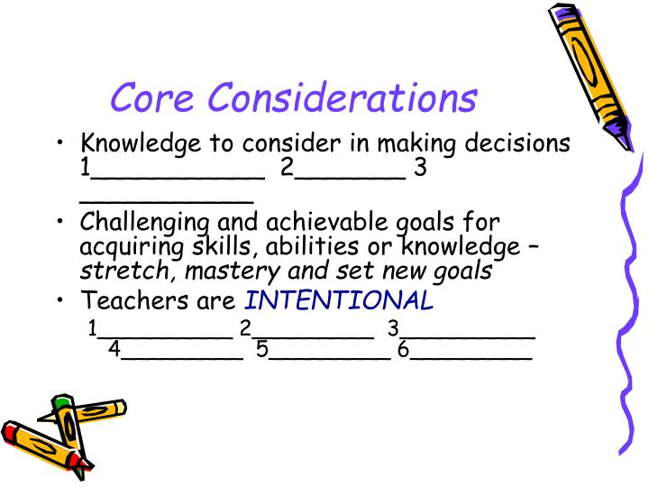 Core Considerations