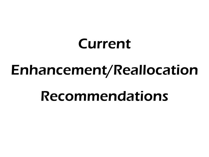 Current Enhancement/Reallocation Recommendations