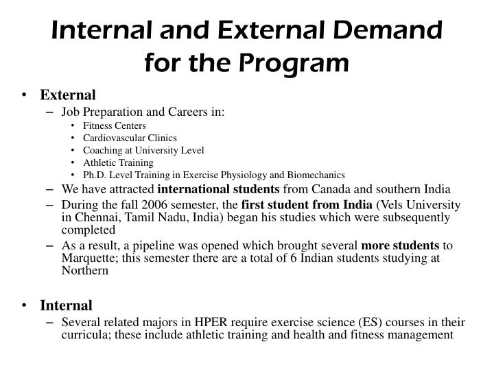 Internal and External Demand for the Program