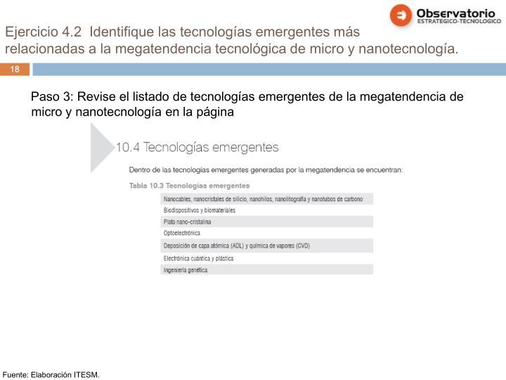 Ejercicio 4.2  Identifique las tecnologías emergentes más