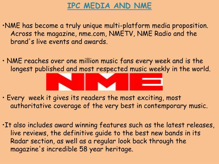 IPC MEDIA AND NME