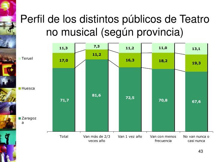 Perfil de los distintos públicos de Teatro no musical (según provincia)