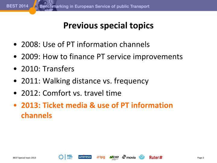 Previous special topics