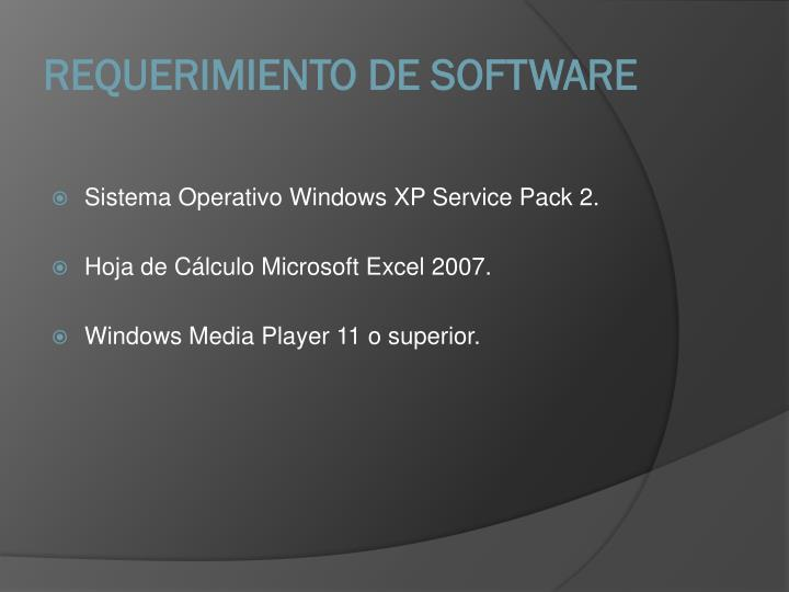 REQUERIMIENTO DE SOFTWARE
