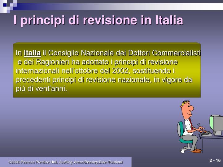 I principi di revisione in Italia