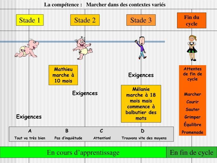 La compétence :   Marcher dans des contextes variés