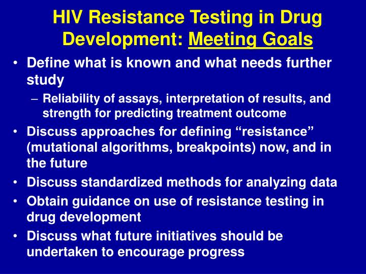 HIV Resistance Testing in Drug Development: