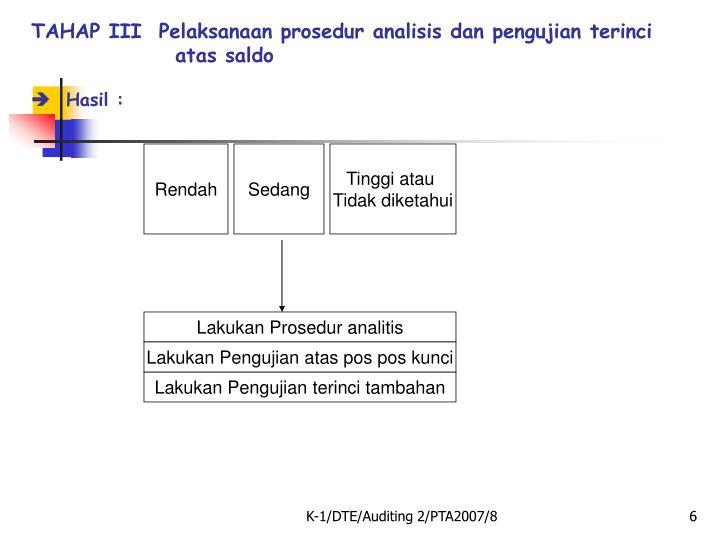 TAHAP III  Pelaksanaan prosedur analisis dan pengujian terinci atas saldo