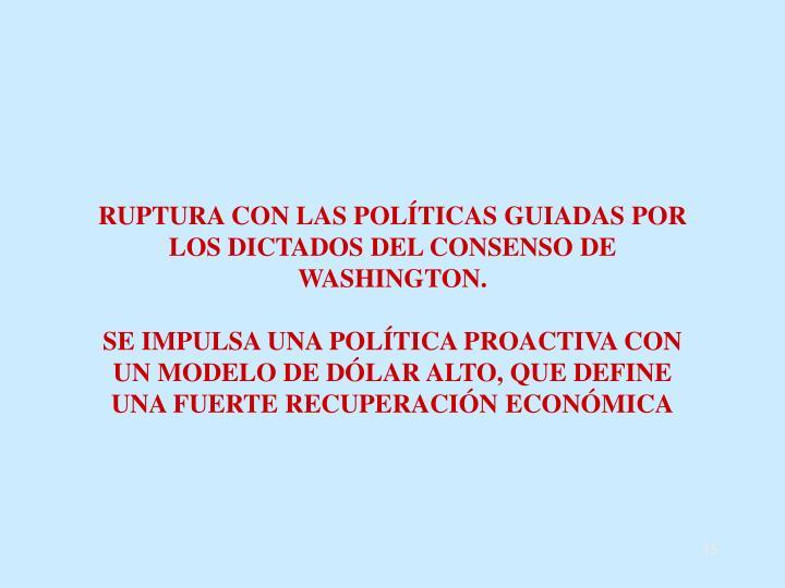 RUPTURA CON LAS POLÍTICAS GUIADAS POR LOS DICTADOS DEL CONSENSO DE WASHINGTON.