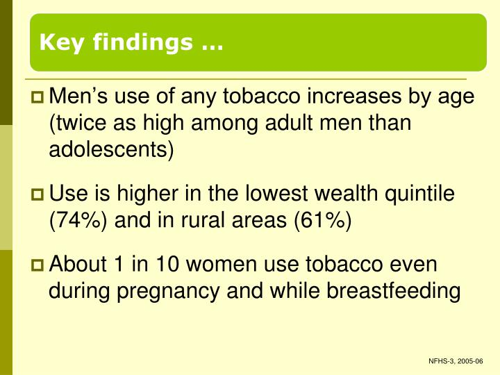 Men's use of any tobacco increases by age (twice as high among adult men than adolescents)